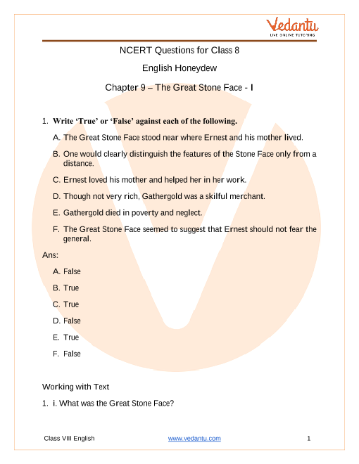 Access NCERT Solutions for Class 8 English Honeydew Chapter 9 – The Great Stone Face - I part-1