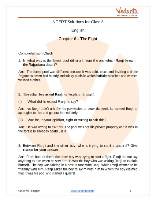 Access NCERT Solutions for English Chapter 6 The Fight part-1