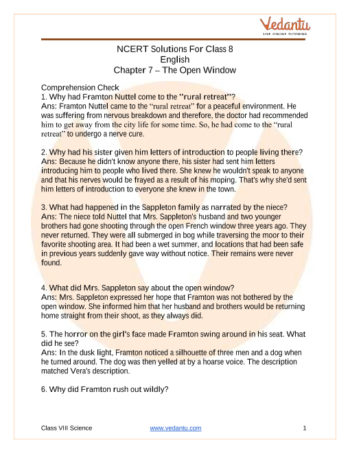 NCERT Solutions for Class 8 English It So Happened Chapter 7 The Open Window part-1