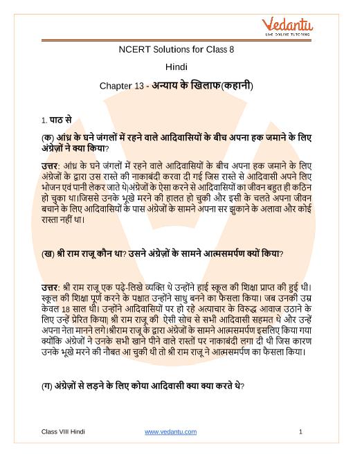 NCERT Solutions for Class 8 Hindi Durva Chapter 13 Anyay Ke Khilaf part-1