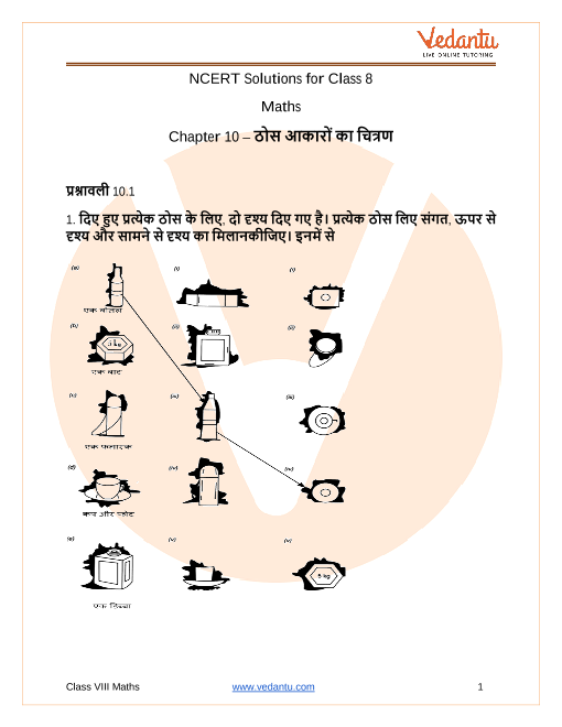 NCERT Solutions for Class 8 Maths Chapter 10 Visualising Solid Shapes in Hindi part-1