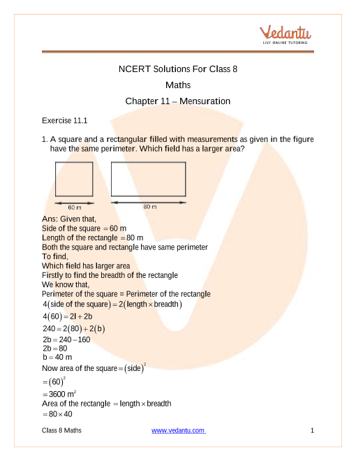 Access NCERT Solutions For Class 8 Maths Chapter 11 – Mensuration part-1