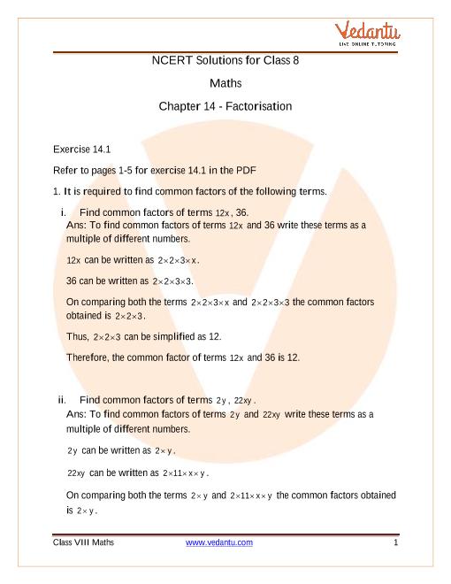 NCERT Solutions for Class 8 Maths Chapter 14 Factorisation Exercise 14.1 part-1
