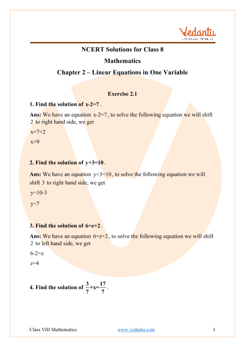 Access NCERT solutions for Maths Chapter 2 – Linear Equations in One Variable part-1