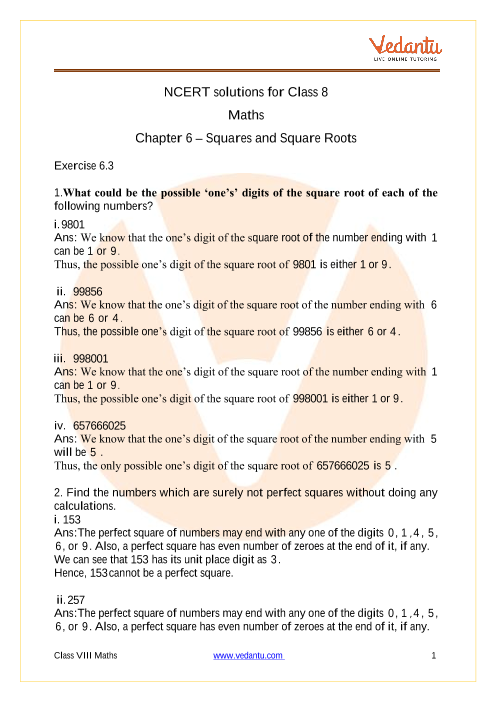 Access NCERT Solutions for Class 8 Maths Chapter 6 – Squares and Square Roots part-1