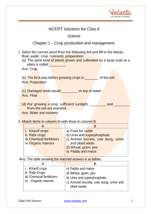 Access NCERT Solutions for Class 8 Science  Chapter 1 – Crop production and management. part-1