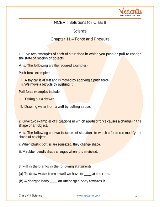 NCERT Solutions Class 8 Science Chapter 11 Force And Pressure part-1