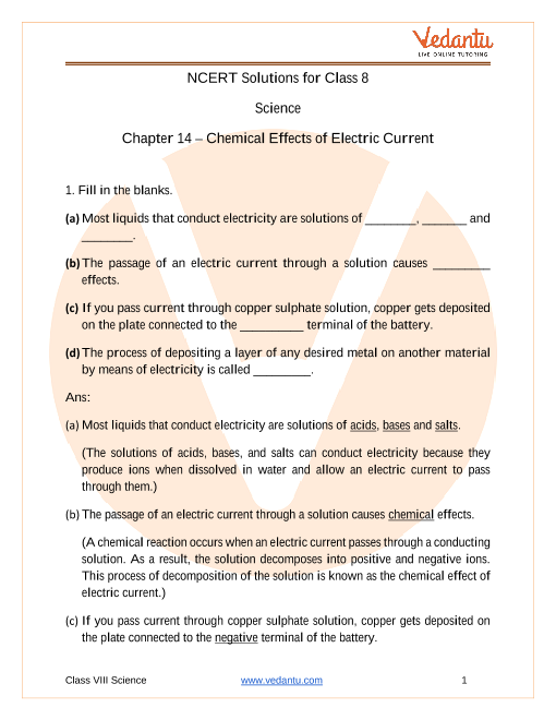 NCERT Solutions for Class 8 Science Chapter 14 Chemical Effects of Electric Current part-1