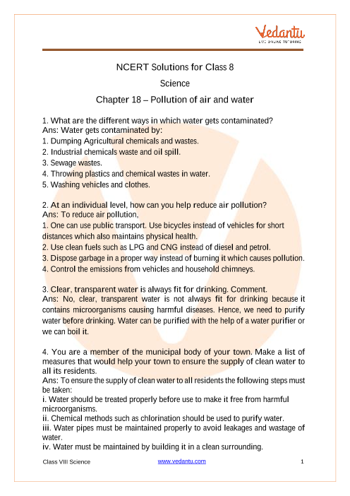 NCERT Solutions for Class 8 Science Chapter 18 Pollution of Air and Water part-1