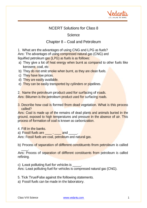 NCERT Solutions for Class 8 Science Chapter 5 Coal and Petroleum part-1