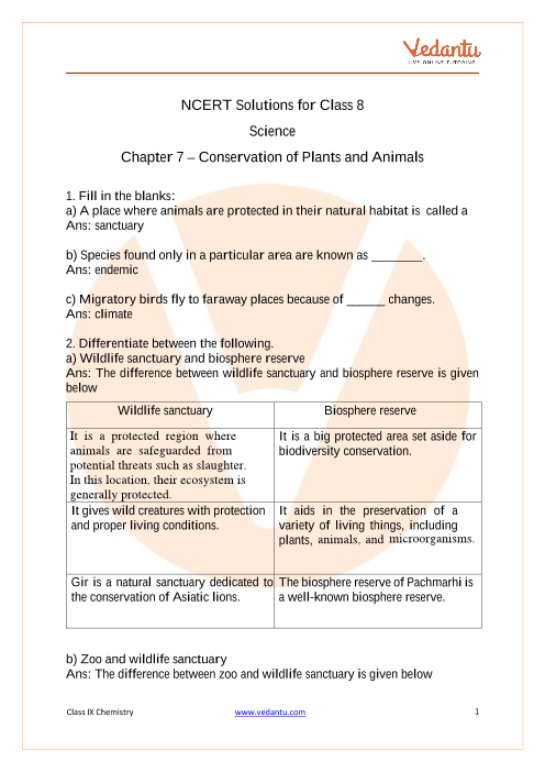 Access NCERT Solutions for Science Chapter 7 – Conservation of Plants and Animals part-1
