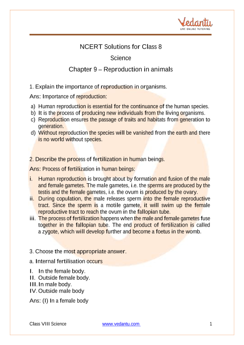 NCERT Solutions for Class 8 Science Chapter 9 Reproduction in Animals part-1
