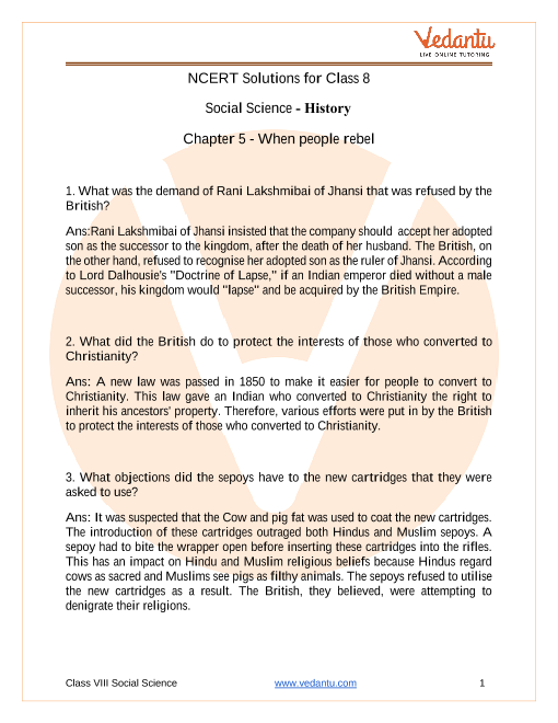 NCERT Solutions for Class 8 Social Science History Our Pasts 3 Chapter 5 When People Rebel part-1