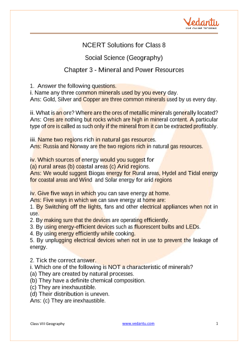 NCERT Solutions for Class 8 Social Science Resources and Development Chapter 3 Mineral and Power Resources part-1