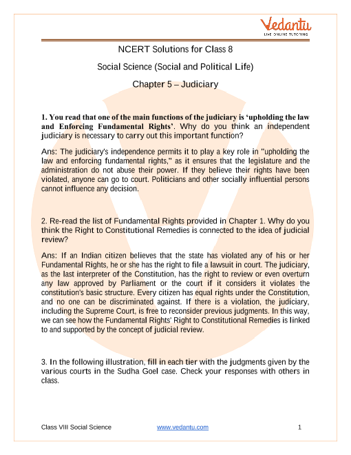 NCERT Solutions for Class 8 Social Science Social and Political Life Chapter 5 Judiciary part-1