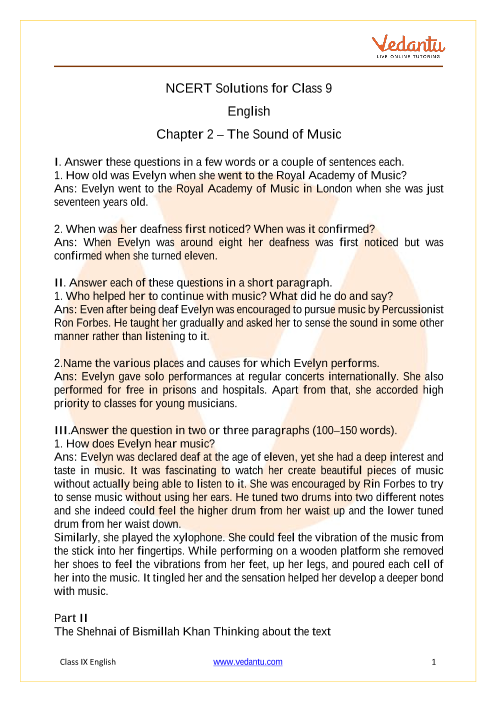NCERT Solutions for Class 9 English Beehive Chapter 2 The Sound of Music part-1