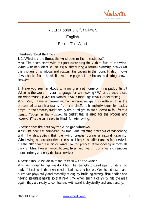 Access NCERT Solutions for Class 9 English Poem- The Wind part-1