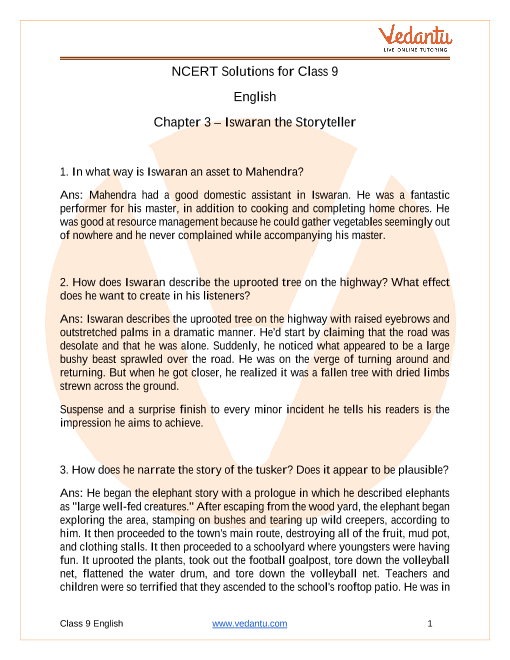 Access NCERT Solutions for English Chapter 3 – Iswaran The Storyteller part-1
