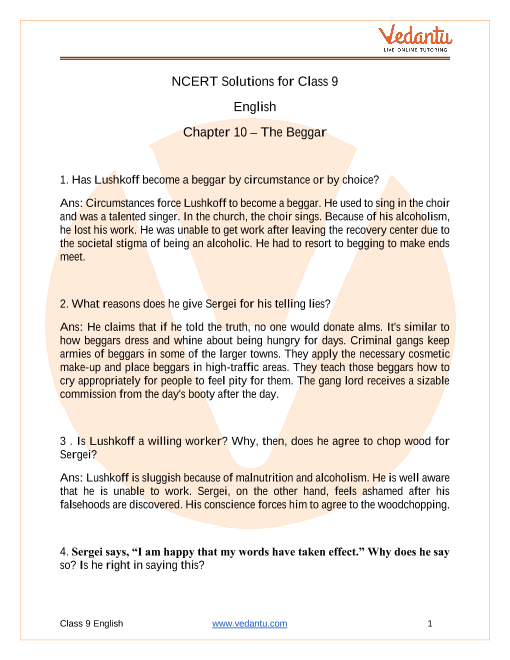 Access NCERT Solutions for English Chapter 10 – The Beggar part-1