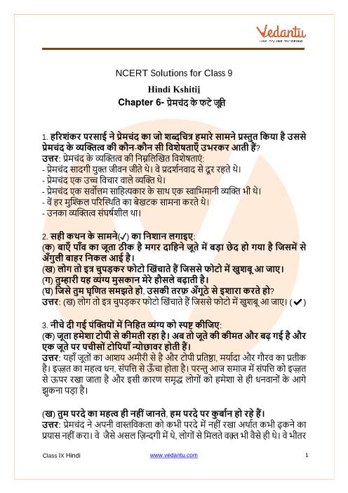NCERT Solutions for Class 9 Hindi Kshitij Chapter 6 Harishankar Parsai part-1