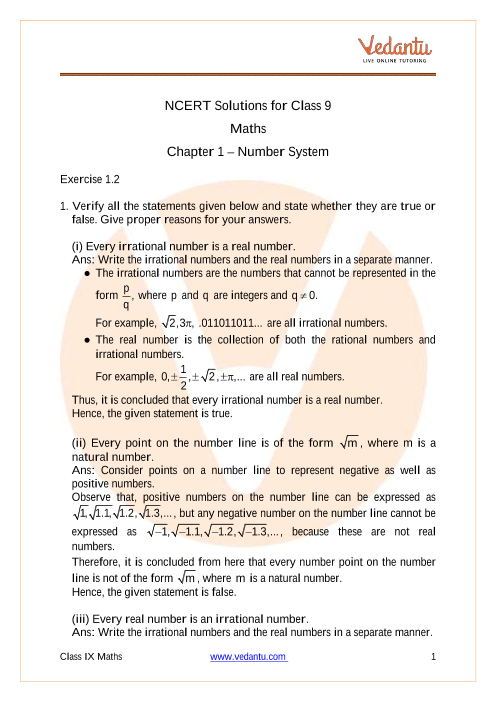 Access NCERT Solutions for Class 9 Maths Chapter 1 – Number System part-1