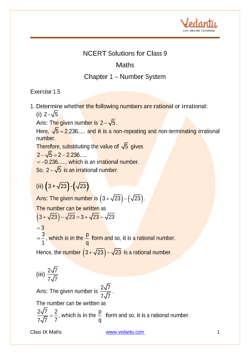 Chapter 1-Number Systems (1) part-1