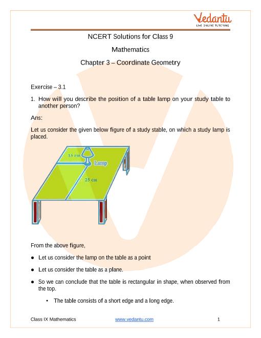 Access NCERT Solution Class 9 Mathematics Chapter 3 – Coordinate Geometry part-1