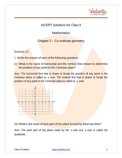 Access NCERT Solutions for Class 9 Maths Chapter 3 – Coordinate Geometry part-1