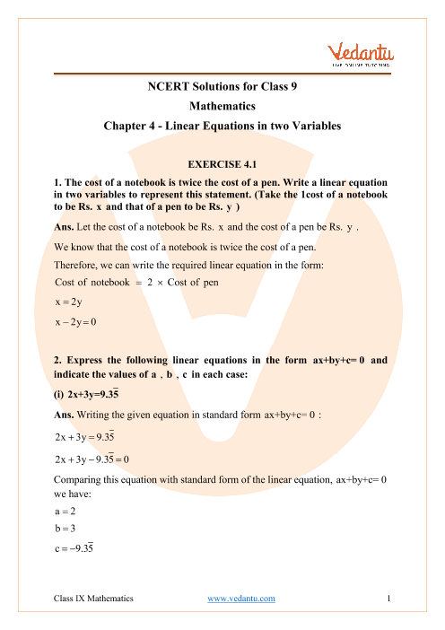 Access NCERT Solutions for Maths  Chapter 4 - Linear Equations in Two Variables part-1