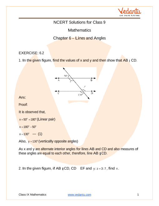 Access NCERT Solutions for Class 9 Mathematics Chapter 6 – Lines and Angles part-1
