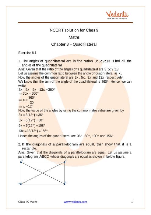 Access NCERT solution for Class-9 Maths  Chapter 8 – Quadrilateral part-1