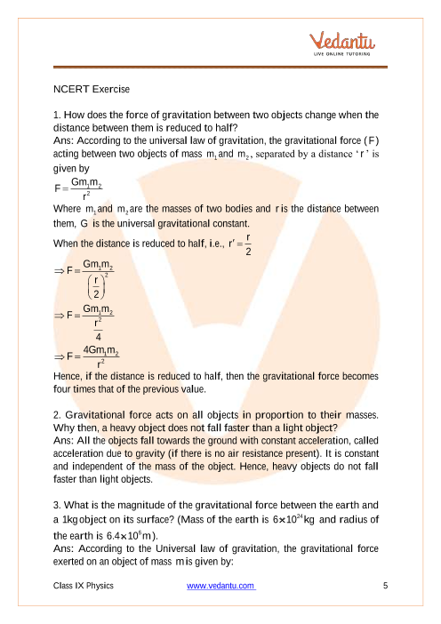 NCERT Solutions for Class 9 Science Chapter 10 Gravitation