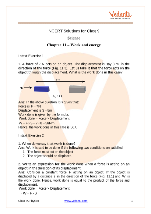 NCERT Solutions for Class 9 Science Chapter 11 Work and Energy part-1