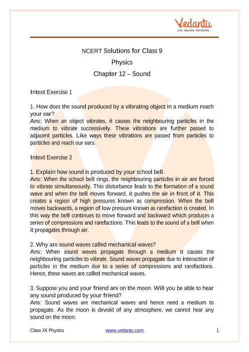NCERT Solutions for Class 9 Science Chapter 12 Sound part-1