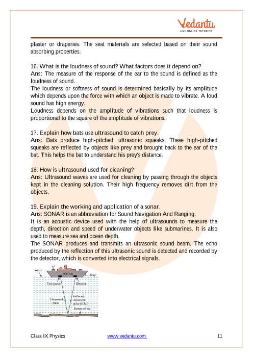 NCERT Solutions for Class 9 Science Chapter 12 Sound - Free PDF