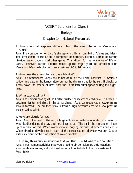 NCERT Solutions for Class 9 Science Chapter 14 Natural