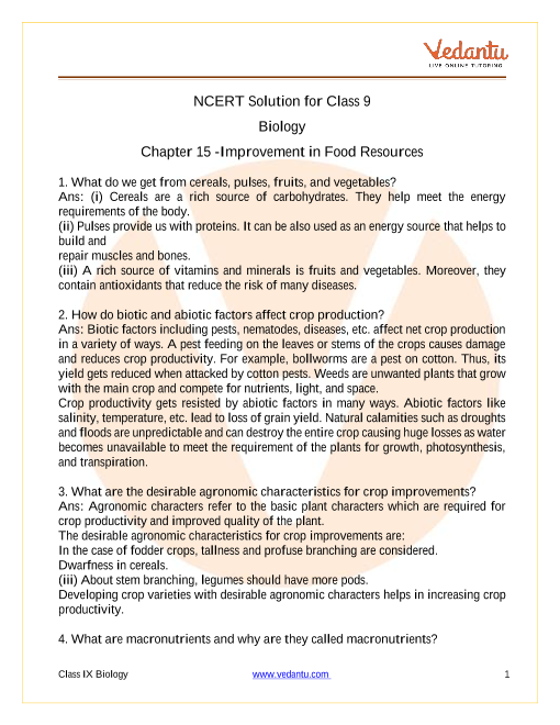 NCERT Solutions for Class 9 Science Chapter 15 Improvement