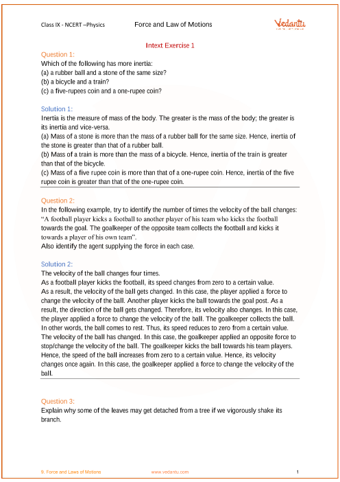 NCERT Solutions for Class 9 Science Chapter 9 Force and Laws of Motion part-1