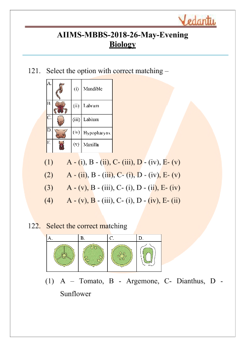 AIIMS 2018 Biology Question Paper 26th May 2018 Evening Shift part-1