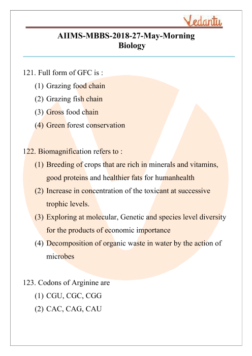 AIIMS 2018 Biology Question Paper 27th May 2018 Morning Shift part-1