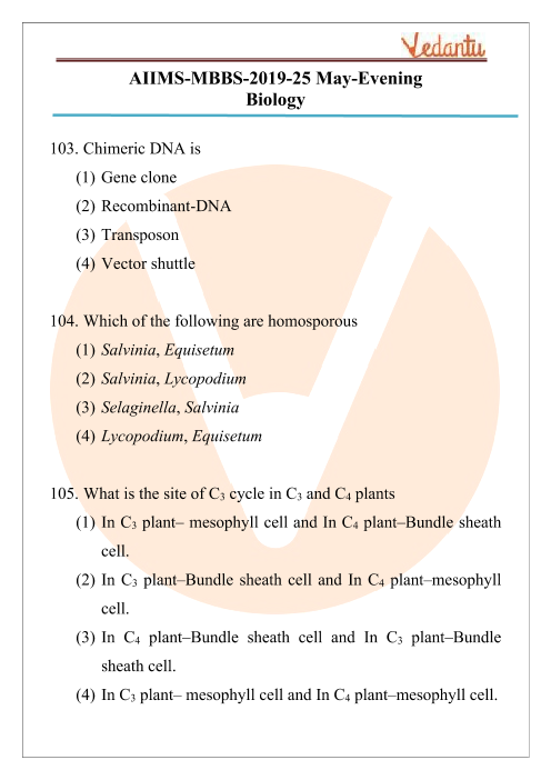 AIIMS 2019 Biology Question Paper 25th May 2019 Evening Shift part-1