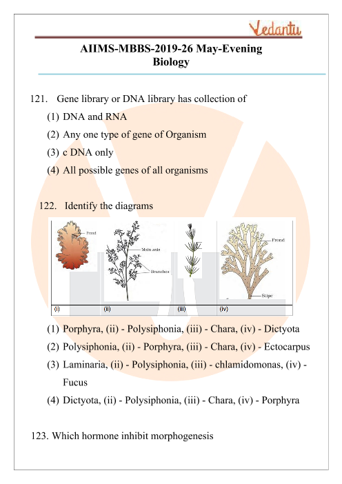 AIIMS 2019 Biology Question Paper 26th May 2019 Evening Shift part-1