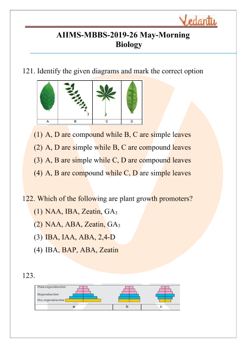 AIIMS 2019 Biology Question Paper 26th May 2019 Morning Shift part-1