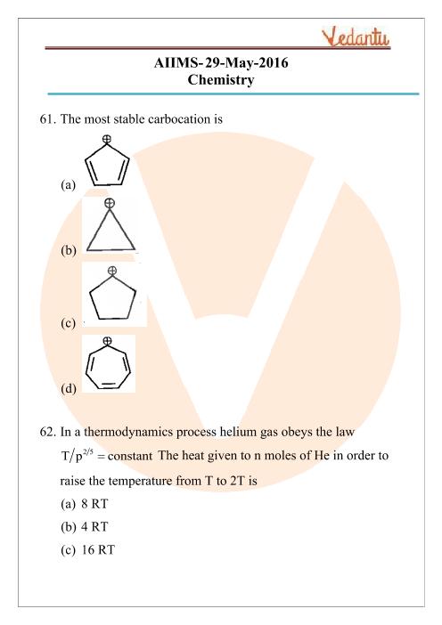 AIIMS 2016 Chemistry Question Paper part-1