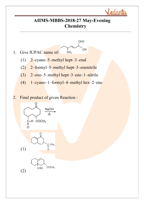AIIMS 2018 Chemistry Question Paper 27th May 2018 Evening Shift part-1