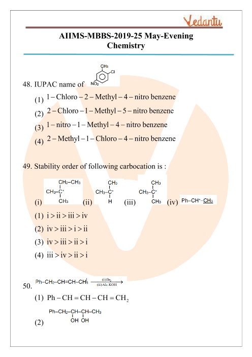 AIIMS 2019 Chemistry Question Paper 25th May 2019 Evening Shift part-1