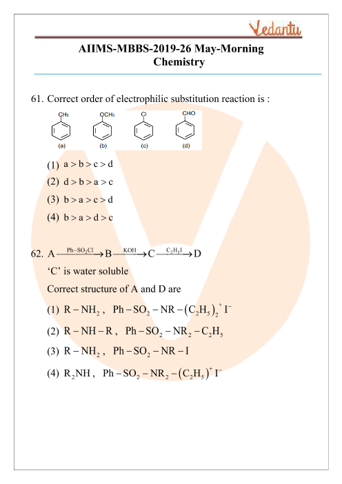AIIMS 2019 Chemistry Question Paper 26th May 2019 Morning Shift part-1