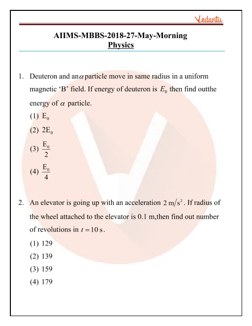AIIMS 2018 Physics Question Paper 27th May 2018 Morning Shift part-1