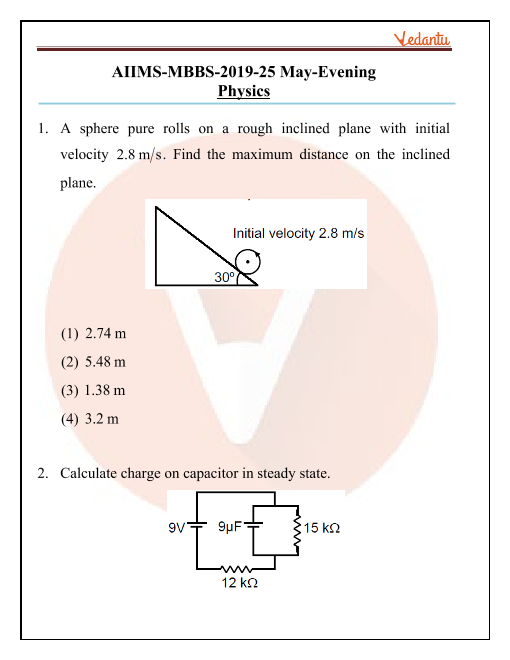 AIIMS 2019 Physics Question Paper 25th May 2019 Evening Shift part-1