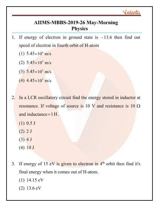 AIIMS 2019 Physics Question Paper 26th May 2019 Morning Shift part-1